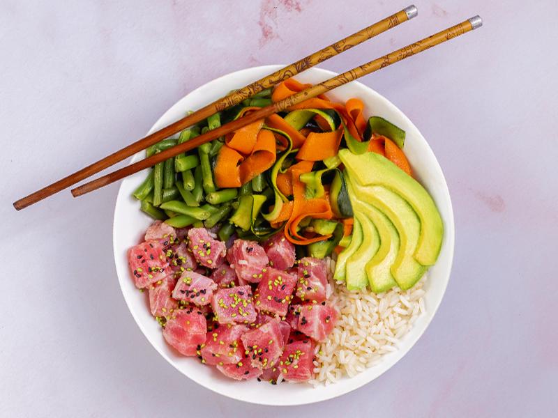 POKE BOWL DE ATÚN | Bajo en calorías, sin grasa y muy nutritivo.