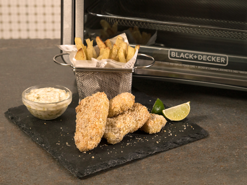 Fish & Chips sin Aceite ¡cero culpa! | Con el Horno Tecnología para Freír de BLACK+DECKER® puedes hacer esta y muchas más recetas deliciosas ¡sin culpa!